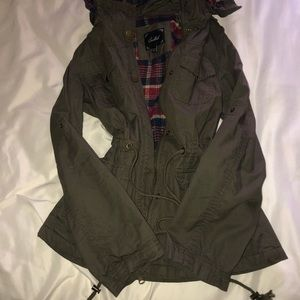Hooded green utility jacket